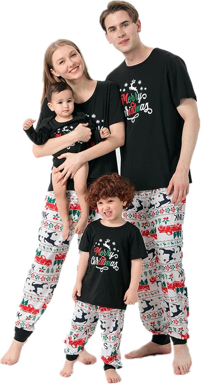 Matching Family Pajamas Sets Christmas PJ's Letter Print Long Sleeve Tee and Plaid Printed Pants Loungewear