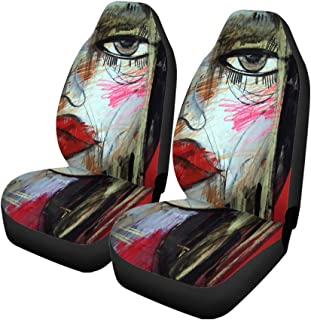 Pinbeam Car Seat Covers Red Abstract Woman Face Drawing Fire Model Appearance Beautiful Set of 2 Auto Accessories Protectors Car Decor Universal Fit for Car Truck SUV