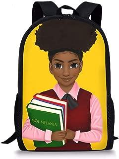 Middle School Backpack for Girls Teenage School Backpack American Afro Girls Design Bookbag