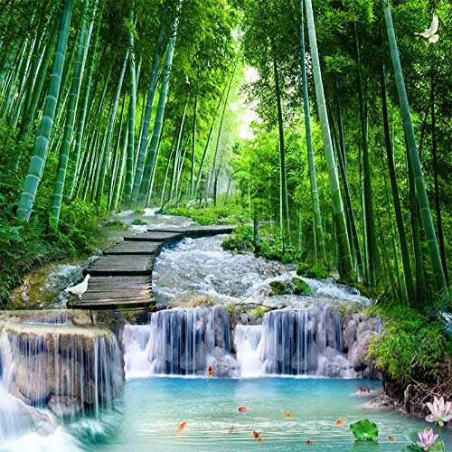 XIAOHUKK 3D self-Adhesive Wallpaper Bamboo Forest Wooden Bridge Flowing Water Mural Waterfall Wall Sticker for Home Decoration