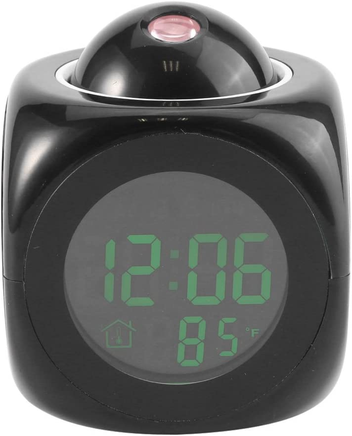 Zetiling Reloj De Proyección Led, Reloj De Pantalla Digital Multifuncional A Batería, Reloj De Alarma De Plástico Negro con Proyector para Sala De Estudio, Dormitorio, Escritorios