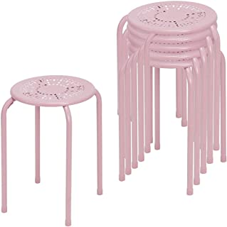 COSTWAY Stackable Daisy Design Metal Stool Backless Round Top Kitchen Home, Garden & Living(6-Pack) (Pink)