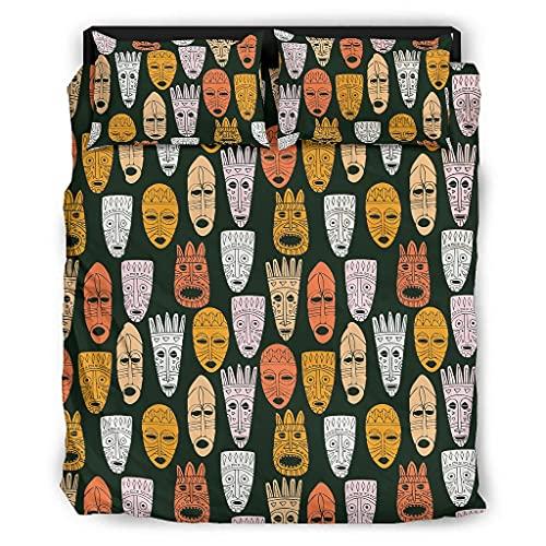 STELULI Juego de cama de 4 piezas, diseño de la novedad Inca maya transpirable - Juego de cama blanco 175 x 218 cm