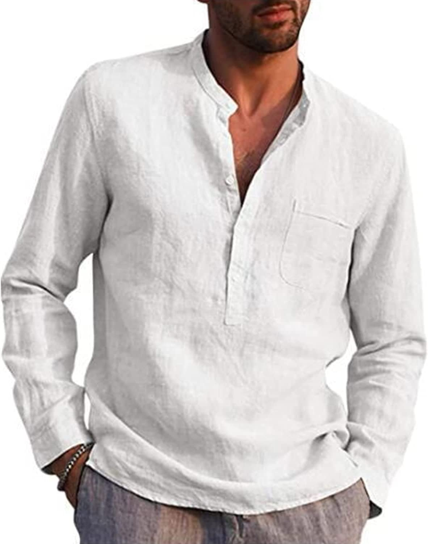 Men's Cotton Linen New York Mall Regular discount V-Neck Loose Fit Shirt Long Ba Sleeve Roll-up