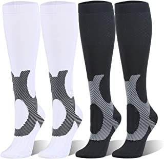 Compression Socks For Women & Men - 20-25mmHg - 1 to 4 Pairs Stockings for Running, Athletic,Varicose Veins, Travel