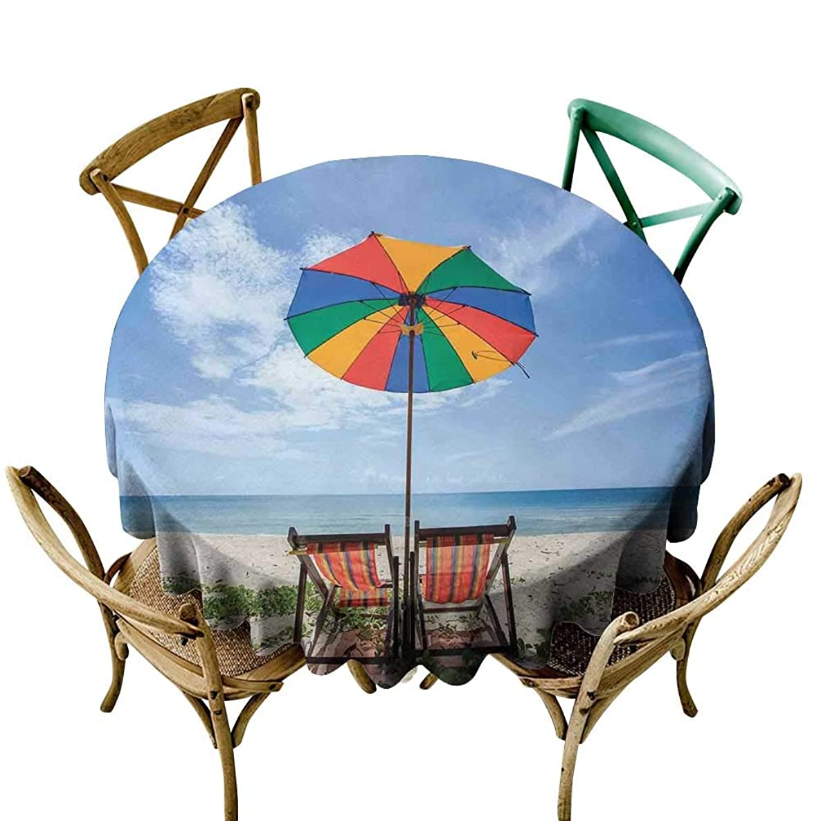 Outdoor Tablecloth 36 inch Seaside,Pair of Chairs and Colorful Umbrella on The Beach Seaside Holiday Travel Image,Multicolor Indoor/Outdoor Spillproof Table Cloth
