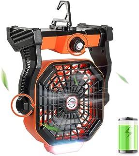 Tresbro 2in1 Ventilateur Camping 10400mAh ventilateur bureau silencieux avec Lumière LED 270°Rotation Crochet pliable,vent...