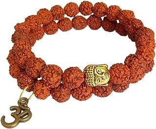 RICH AND FAMOUS Gold/Brown Wood Brass Buddha Om Rudraksha Bracelet for Unisex