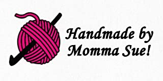 Crochet Hook with Yarn – Cotton Fabric Labels for Handmade Items/Customized Garment Clothing Size Fabric Labels/Personalized Printed Fabric Sew Tag Labels/Quilt, Crochet, Knit, Sewing