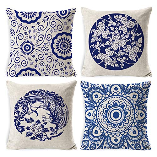SASTYBALE 45 x 45cm Throw Cushion Cover-Vintage Mandala Throw Pillow Case Blue Pillow Covers Square Pillowcases for Sofa Patio Porch Garden Car Decorative(Floral)