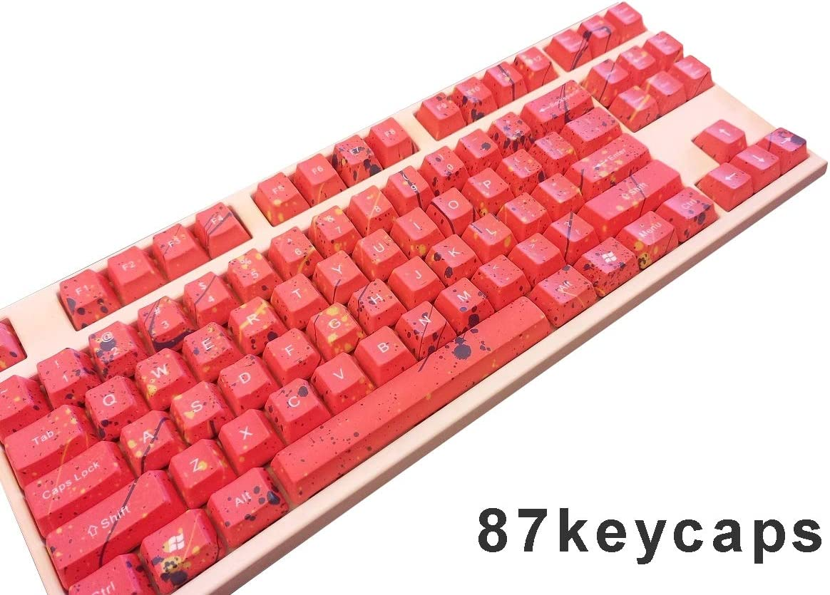 Red Keycaps PBT Material OEM Height Keycaps 87//104//108 Keycaps Suitable for MX Switch Mechanical Keyboard,108
