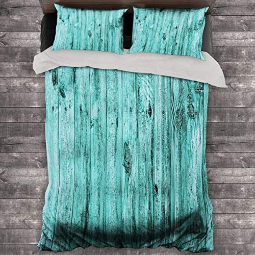 Miles Ralph Turquoise Decor King Bed Comforter Wall of Turquoise Wooden Texture Background Antique Timber Furniture Artful Print Duvet Cover with Two Pillowcases 104'x89' inch Teal