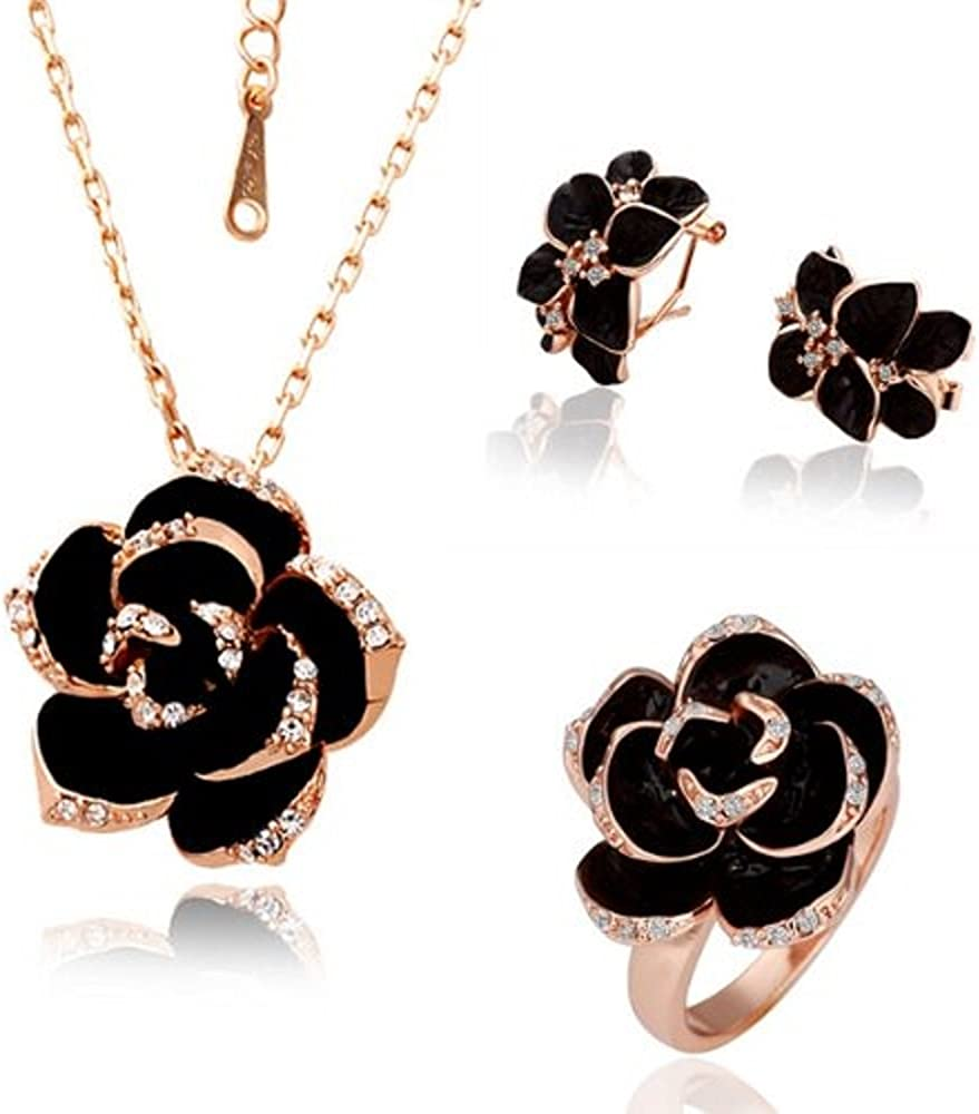 Dazzle flash Black Flower Pendant Necklace Rose Gold Plated Costume Fashion Jewelry Sets for Women