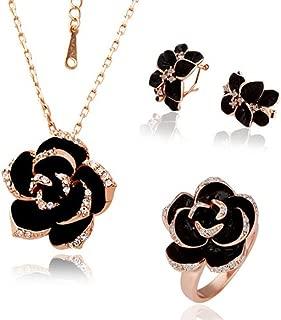Black Flower Costume Fashion Jewelry Sets for Women JGG012
