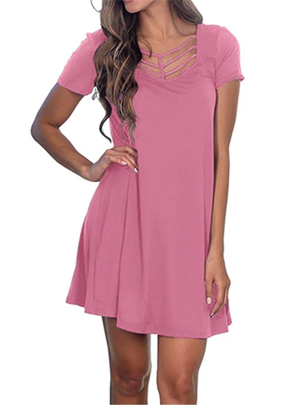 Fanfly Women's Summer Short Sleeve Swing T Shirt Dress Criss Cross Neckline Casual Loose Tunic Dress