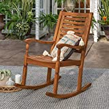 Walker Edison Montego Traditional Acacia Wood Slat Back Patio Rocking Chair, 42 Inch, Brown