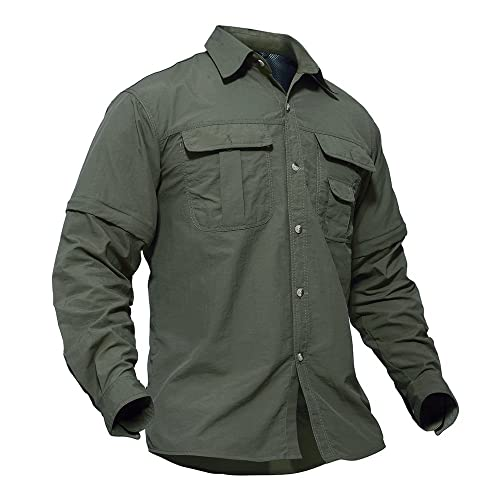 3c61790d0595f TACVASEN Táctico Militar Hombres Secado rápido Protección UV Manga  Convertible Camisa Ejército Verde