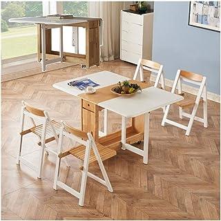 PULLEY -C 1,35 m de madera maciza 6 sillas juego de mesa de comedor plegable hoja caída muebles de cocina de madera maciza C