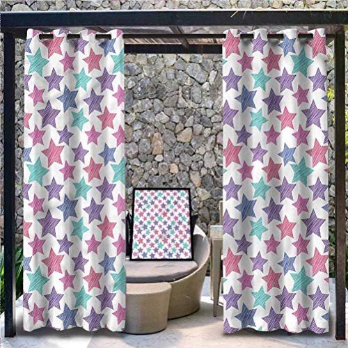 Anmaseven Modern Polyester Outdoor Curtain Pergola | Cabana |Backyard| Garden| Wedding Stars Pattern with Stripes 96' W by 84' L(K245cm x G214cm)