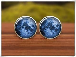 """Gemelos de luna llena con texto en inglés """"We are Forever Family Moon Gemelos, Gemelos de boda personalizados, gemelos de ..."""