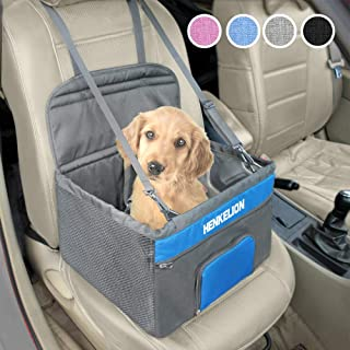 Henkelion Pet Dog Booster Seat, Deluxe Pet Booster Car Seat for Small Dogs Medium Dogs, Reinforce Metal Frame Construction, Portable Waterproof Collapsible Dog Car Carrier with Seat Belt