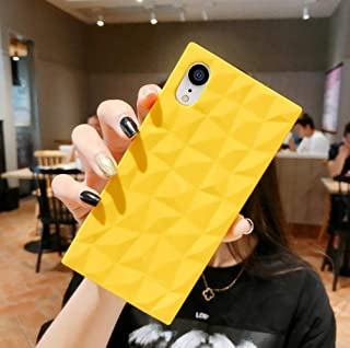 Square iPhone XR Case for Girls,3D Diamond Pattern Cute Candy Color Shockproof Protective Slim-fit Solid Color Flexible Soft TPU Case for iPhone XR 6.1 inch (Yellow)