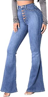 Womens Skinny Bell Bottom Jeans Flare Wide Leg High Rise Denim Pants