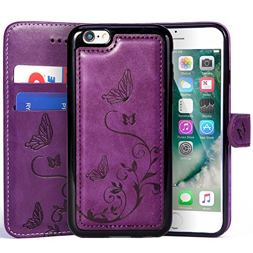 WaterFox Case for iPhone 6/6S, Wallet Leather Case with 2 in 1 Detachable Cover, Women's Vintage Embossed Pattern with 2 Card Slots & Wrist Strap Case - Purple