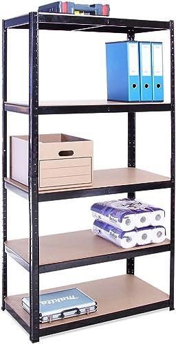 Rangement Garage: 180 cm x 90 cm x 45 cm | Noir - 5 Niveaux | 175 kg par tablette (Capacité Totale de 875 kg) | Garan...