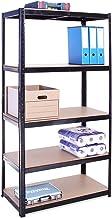 Rangement Garage: 180 cm x 90 cm x 45 cm | Noir - 5 Niveaux | 175 kg par tablette (Capacité Totale de 875 kg) | Garantie d...