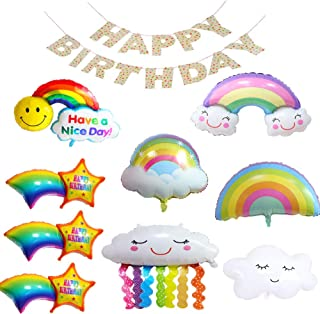 10 Pcs Rainbow Balloons Birthday Party Colorful Decorations Supplies Included Happy Birthday Banner with Polka Dot Patter...