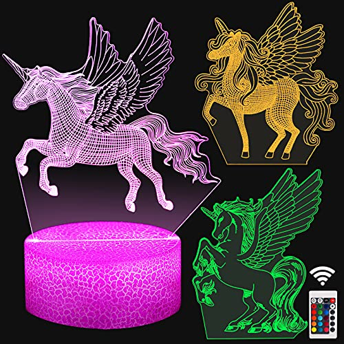 Unicorn Gift 3D Night Light for Girls Led 16 Colors Changing Touch&Remote Control Bedside Lamp for Girls Bedroom Graduation Birthday Christmas Gift for 4 5 6 7 8 Year Old Girl