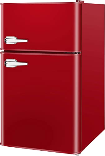 lowest LHRIVER 3.2 Cu Ft Mini Fridge with Freezer outlet sale - sale 2 Door Compact Refrigerator with Adjustable Mechanical Thermostat, Energy Saving, Low Noise with LED Light Small Compact Refrigerator for Office, Dorm, Red online
