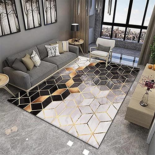La alfombras Alfombra bebé Alfombra geométrica Dorada Negra Gris Lavable Antideslizante Antideslizante para alfombras Alfombra Dormitorio 120*160cm