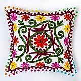 HANDICRAFT-PALACE - Funda de cojín de Estilo Mandala Bordada a Mano, diseño Floral...