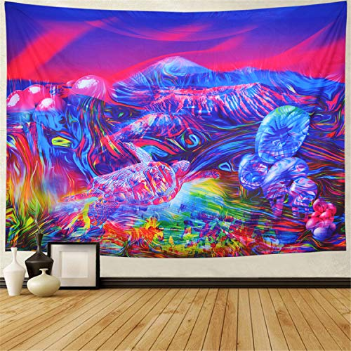 Trippy Mountain Tapestry Psychedelic Mushrooms Tapestry Fantasy Tortoise Abstract Art Colorful Mountain Wall Hanging Tapestry for Bedroom Dorm H51.2× W59.1 inches