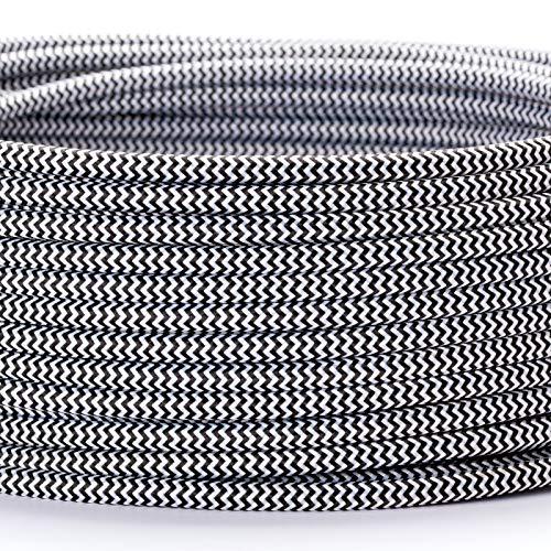 Textilkabel Textilummanteltes Kunststoffleitung Stoffkabel Stromkabel / 3-adrig 3x0,75mm² mit Erdleiter, Lampezubehör (5m, schwarz-weiß)
