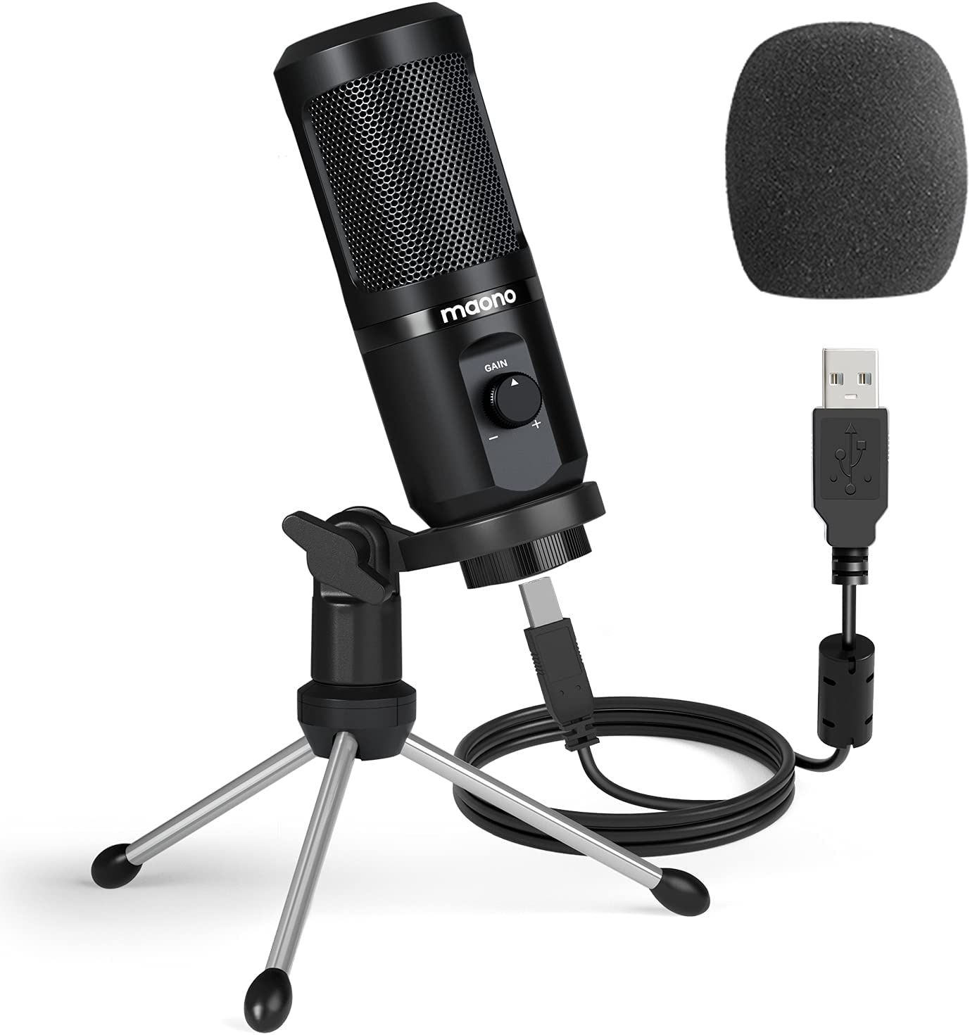 USB Microphone with Mic Gain, MAONO 192Khz/24Bit Podcast PC Computer Condenser Mic for Recording, Gaming, Streaming, Voice Over, YouTube, Twitch, Skype, Compatible with Mac Laptop Desktop, PM461TR