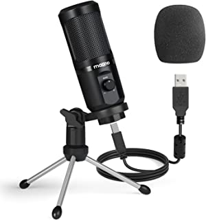 USB Podcast Microphone with Mic Gain MAONO Cardioid Condenser PC Computer Microphone for Recording, Gaming, Streaming, Voi...