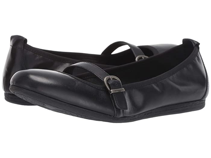 Born  Curlew (Black Full Grain Leather) Womens Flat Shoes