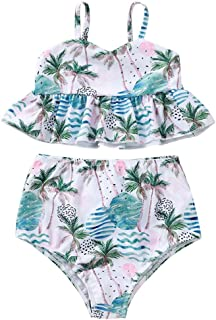 Ruffle Bottom Swimsuit Solid Bathing Suit Bikini Set Goodtrade8 Toddler Kid Girl Crystal Halter Adjustable Top