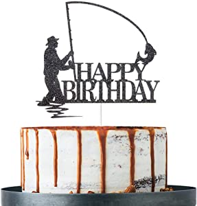 Black Glitter Happy Birthday Cake Topper, Birthday Party Decorations, Fishing Cake Topper, Fisherman Birthday Party Supplies