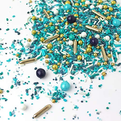 Sea Glass| Navy Blue Teal White Little Boy Ocean Beach Party Summer Colorful Sprinkles Mix Candy Baking Edible Cake Decorations Cupcake Toppers Cookie Decorating Ice Cream Toppings, 2OZ(sample size)