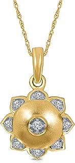 1/10 ct Round White Diamond 10K Yellow Gold Lotus Flower Yoga Pendant Necklace for Womens