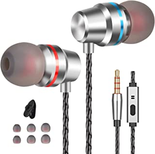 Earbuds Ear Buds Earphones with Microphone Mic Wired Noise Isolating Headphones Earbuds Stereo in Ear Ear Buds Compatible iPhone iPod iPad Samsung Android Smartphones Tablet Laptop 3.5mm Jack