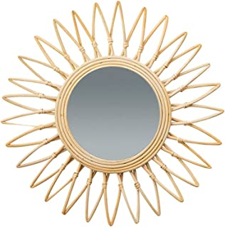 Nordic Style Hanging Mirror Decorative Mirror - Rattan Wall Hanging Mirror Round Mirror Personality Wall Mirror, Suitable for Decoration, Living Room, Room, Etc.