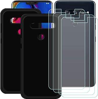YZKJ [2 stycken skal för LG V40 ThinQ Cover svart mjuk silikon skyddande skal TPU skal skal skal 4 x pansarglas skärmskydd...
