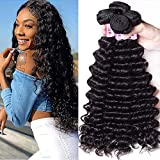 Unice Hair Brazilian Deep Wave 3 Bundles, Unprocessed Virgin Human Hair Weaves Natural Color Can Be Dyed and Bleached 12 14 16inch