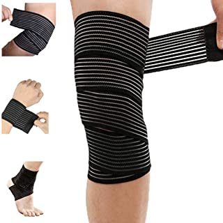 Extra Long Elastic Knee Wrap Compression Bandage Brace Support for Legs, Plantar Fasciitis, Stabilising Ligaments, Joint Pain, Squat, Basketball, Running, Tennis, Soccer, Football, Black