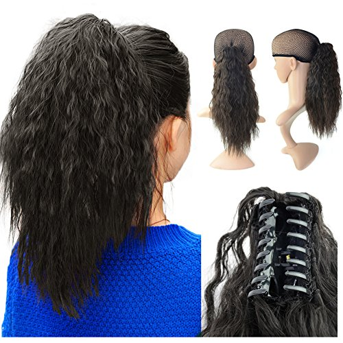 Beauty Angelbella 15 inch Ponytail Extension Yaki Wavy Curly Synthetic Hair Hairpieces with Jaw Clip for Women Black
